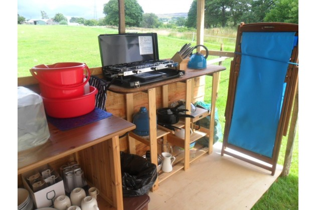 fully equipped separate camp kitchen