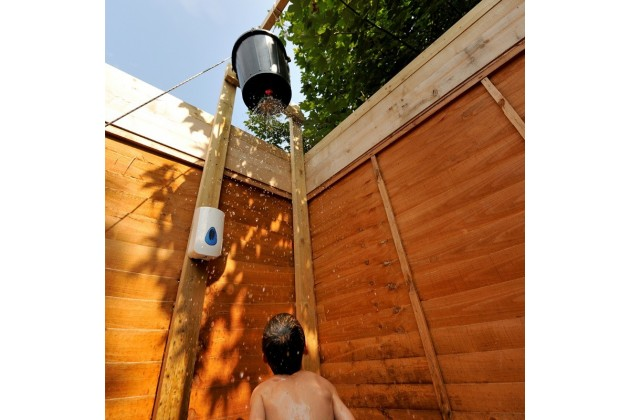 Our outdoor bucket showers