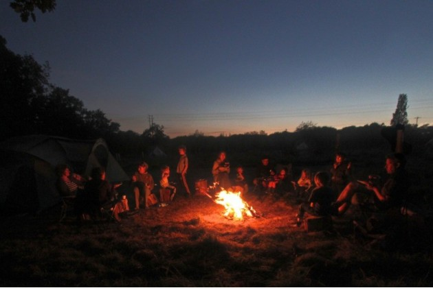 Socialising round the campfire