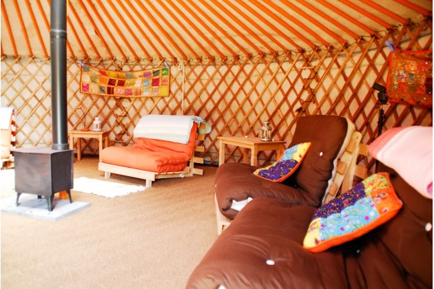 warm tones of SHAKTI yurt