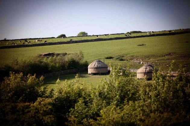 Long Valley Yurts nestled in the rolling hills of the White Peak