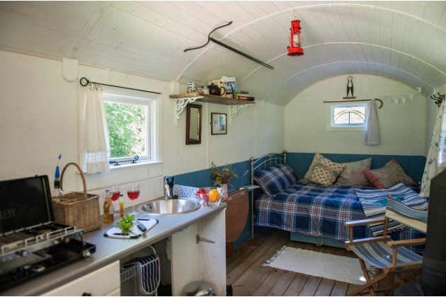 Shepherd Hut interior, Devon