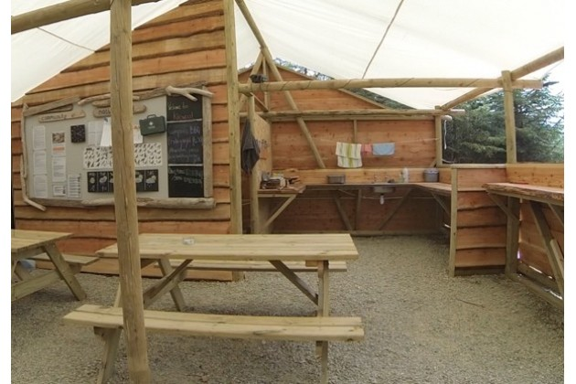 camp kitchen and social area