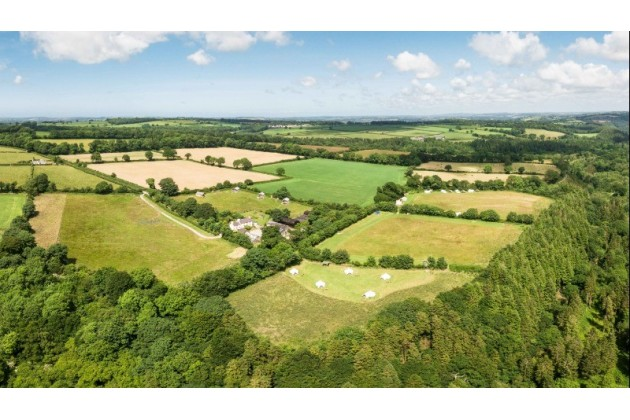 An aeriel view of Top of the Woods, with 30 pitches across 27 acres there is space for everyone. Perfect for group holidays!