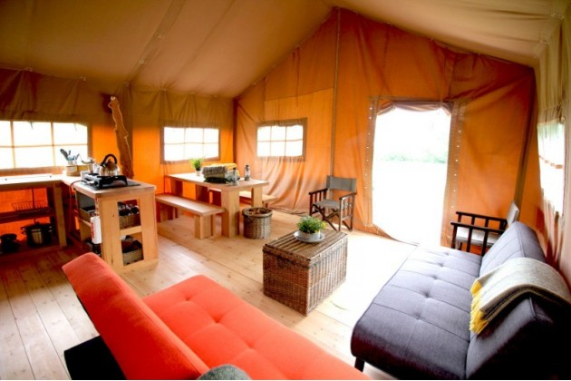Inside the luxurious Eco Boutique Safari Lodges, plenty of space and bespoke, handmade furniture