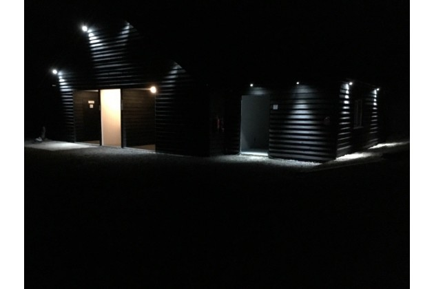 The new toilet block at night