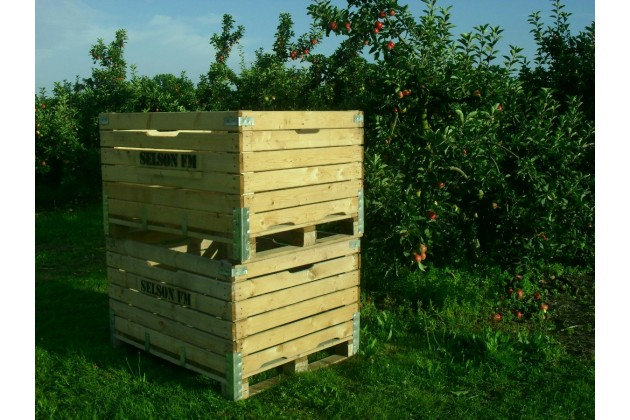 Apple bins on the farm