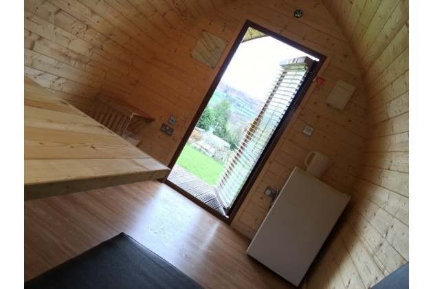 Inside our glamping Log Pod...bigger than you might think!